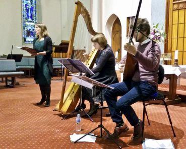 Roberta Diamond (soprano), Hannah Lane (Italian triple harp), Nicholas Pollock (theorbo)