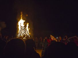 The burning boat bonfire on foreshore